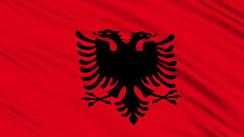 Albanian flag, with real structure of a fabric Stock Video Footage