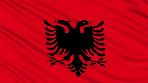 Albanian flag, with real structure of a fabric Animation