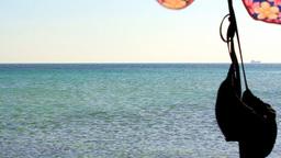 SEA,PARASOL AND BIKINI TOP Stock Video Footage