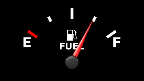 Fuel gage and pointer moving on it. HD Stock Video Footage