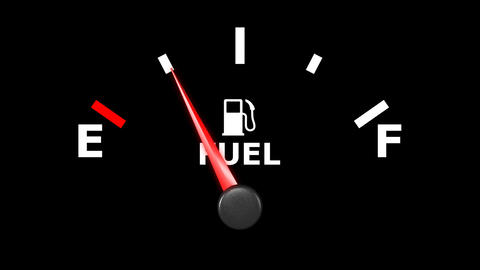 Fuel gage and pointer moving on it. HD Animation