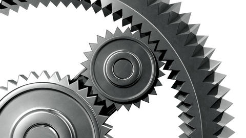 Silver Gears Close-up. Looped. HD 1080, Alpha Stock Video Footage
