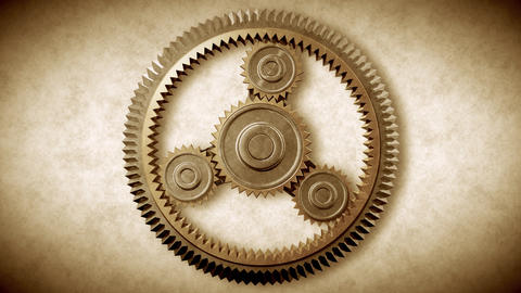 Gold Gears Looped. HD 1080 Animation