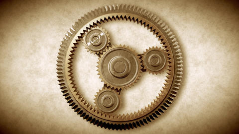 Gold Gears Looped. HD 1080 Stock Video Footage