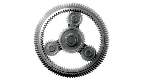 Silver Gears Looped. HD 1080, Alpha Stock Video Footage