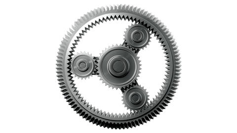 Silver Gears Looped. HD 1080, Alpha Animation