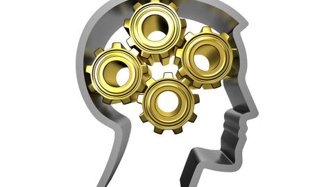 Human head with rotating gears, Gold and steel. HD Animation