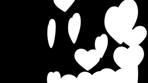Beautiful Hearts in looped animation. Alpha mask. Stock Video Footage