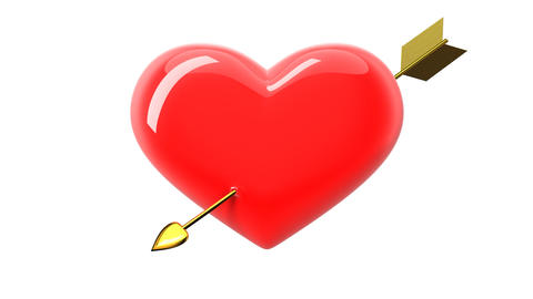 Heart beating and arrow strikes the heart. HD 1080 Animation
