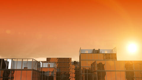 Growing buildings on orange sky with the sun. HD 1 Animation