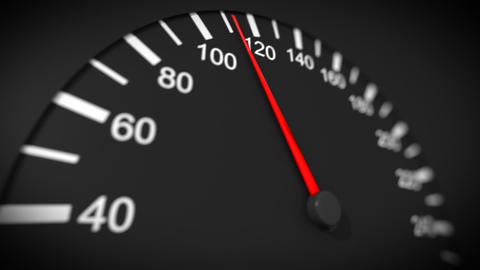 Car speedometer close-up. Max speed. HD 1080 Animation