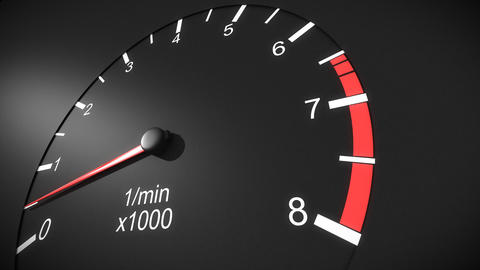 Car tachometer and moving pointer on it. HD Stock Video Footage