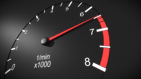Car tachometer and moving pointer on it. HD Animation