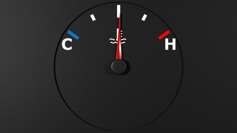 Car thermometer and moving pointer on it. HD Animation