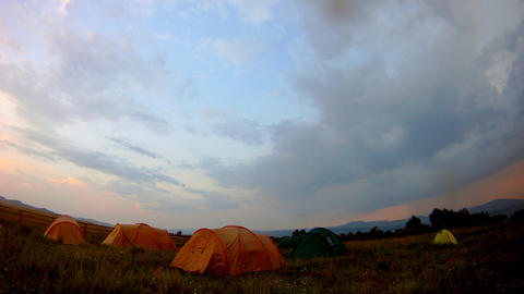 tourist tent on nature sunset time lapse Stock Video Footage