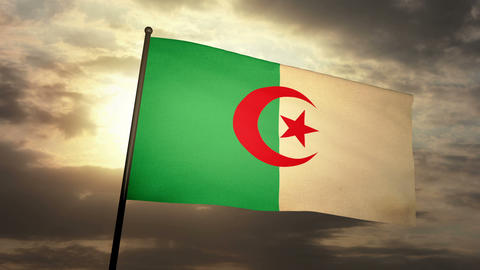 Flag Algeria 03 Stock Video Footage