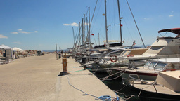 SAILBOATS AT MARINA Stock Video Footage