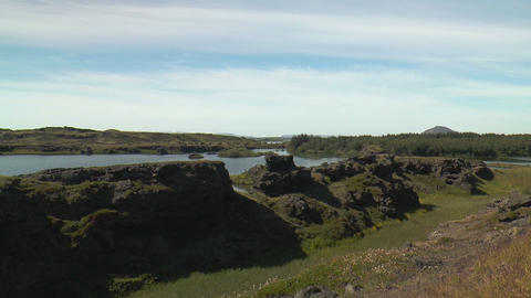 landscape at lake myvatn in iceland Stock Video Footage