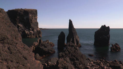 high cliffs coastline in south iceland Footage