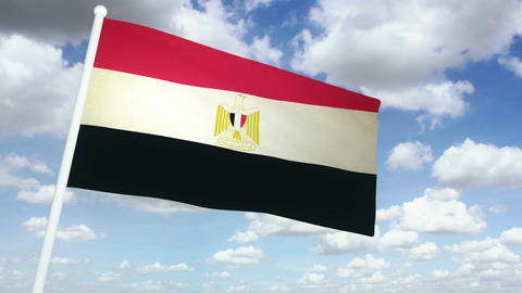 Flag Egypt 02 Stock Video Footage