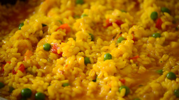 Paella Rice Cooking stock footage