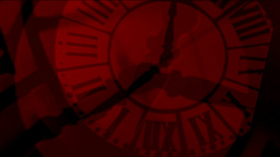 Animation Crazy Clocks Red Silhouettes stock footage