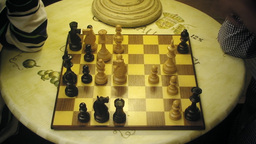 Chessboard chess players table 1 Stock Video Footage