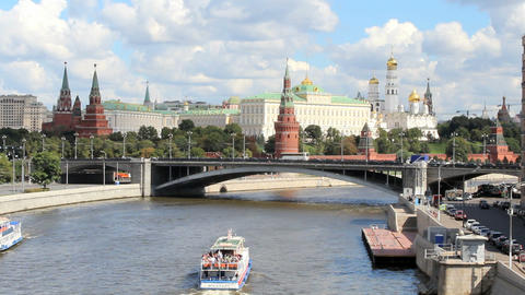 Moscow River and Kremlin Embankment Footage