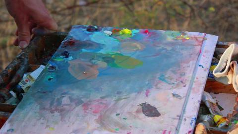 Artist Paints a Picture 3 Footage