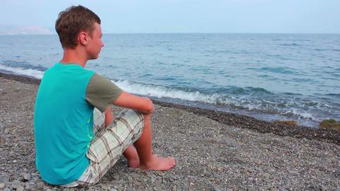 Boy on Beach 1 Stock Video Footage