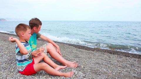 Boy on Beach 3 Stock Video Footage