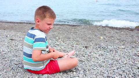 Boy on Beach 11 Stock Video Footage