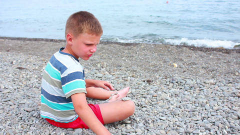 Boy on Beach 11 Stock Video Footage