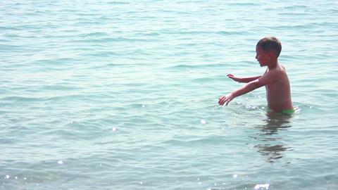 Boy on Sea 7 Stock Video Footage