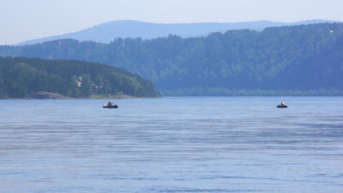 River Yenisei 09 with two fishing boats Footage