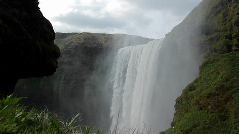 A beautiful waterfall in Iceland Footage