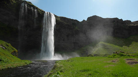 A beautiful waterfall in Iceland Stock Video Footage