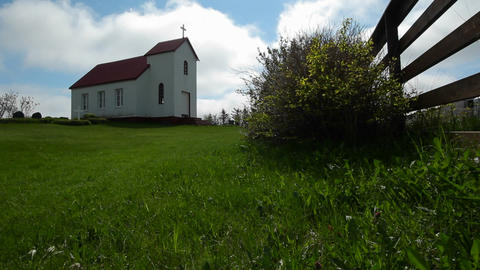 A small church near a fence in Iceland or a Scandi Stock Video Footage