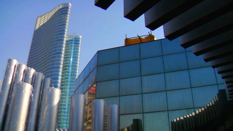 High rises accent the beautiful skyline of Abu Dha Stock Video Footage