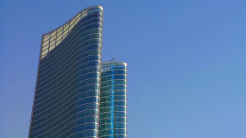 Whip pan to high rises in Abu Dhabi in the United Stock Video Footage