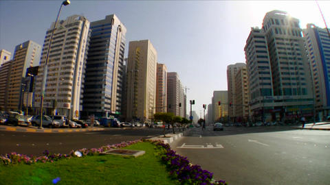 Time lapse of traffic on streets in Abu Dhabi in t Stock Video Footage