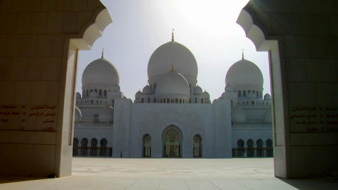 Tilt down to reveal the beautiful Sheikh Zayed Mos Footage