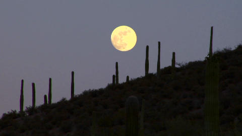 The moon sets behind the Mexico, Arizona, Baja or  Footage