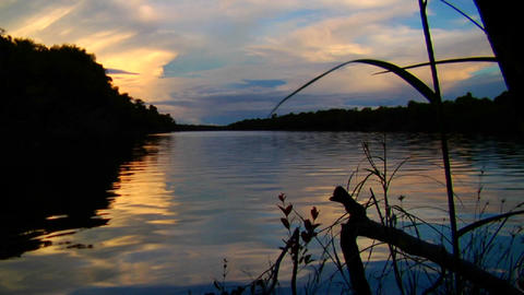 Sunset over the beautiful Amazon River basin, Braz Footage