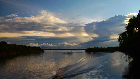 A motorboat passes quickly along the Amazon River Stock Video Footage