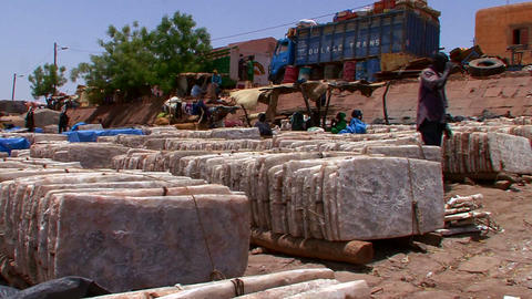 Goods are bundled and shipped in Mali, Africa Stock Video Footage