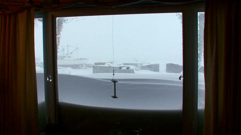 A view out of a living room window of a arctic bli Stock Video Footage