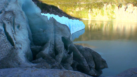 A blue glacier from the side Stock Video Footage