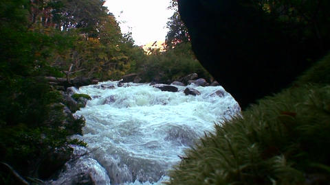 Water rages in a river Stock Video Footage
