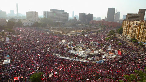 Crowds in Tahrir Square in Cairo, Egypt Stock Video Footage